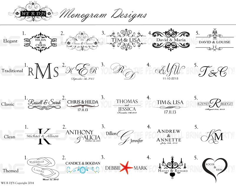 wedding monogram we r djs